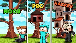 Minecraft - TREE HOUSE CHALLENGE! (NOOB vs PRO vs HACKER)