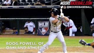 Boog Powell, OF, Oakland Athletics, Swing Mechanics, @SlowMoMechanics @MooreBaseball