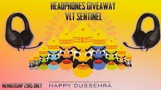 HEADPHONES GIVEAWAY PUBG MOBILE  | VLT SENTINEL | MEMBERSHIP FOR 29/- ONLY