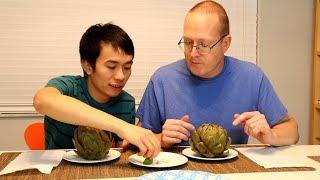 Gay Việt Chồng Mỹ Ăn Bông Atiso Chấm Muối Tiêu Chanh| Long Tran USA