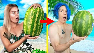 SURVIVING ON A DESERTED ISLAND FOR 24 HOURS USING LIFE HACKS FROM TROOM TROOM!