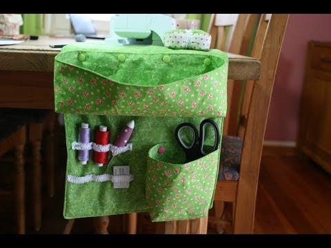 Fadensammler mit Utensilo für den Tisch oder den Sessel nähen