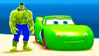 HULK Lightning McQueen Disney CARS & The Farmer In The Dell Nursery Rhymes with CARS Custom Green