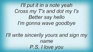 All American Rejects - P.S. I Love You Lyrics