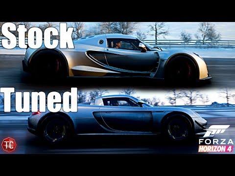 Forza Horizon 4: Stock vs Tuned! Hennessey Venom GT vs Porsche Carrera GT with WHEEL & Shifter!