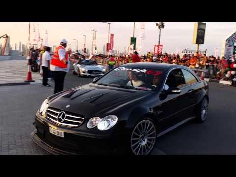 Dubai grand parade AMG brutal V8 +C63 burnout