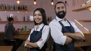 Diverse Cafe Owners with Folded Hands Smiling | Stock Footage - Videohive
