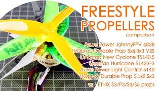 FPV Freestyle propellers : Azure power vs HQprop vs Gemfan vs DALprop vs Ethix