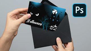 Create Halloween Invitation Card Presentation Using PSD Mockup