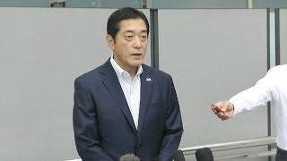 加計学園の対応について取材に応じる愛媛県知事