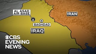 """Iran has launched dozens of ballistic missiles at two locations in Iraq where U.S. troops are based. The missiles were fired from Iranian territory in retaliation for the U.S. drone strike in Baghdad last week that killed Iranian General Qassem Soleimani. David Martin reports.  Subscribe to the """"CBS Evening News"""" Channel HERE: http://bit.ly/1S7Dhik Watch Full Episodes of the """"CBS Evening News"""" HERE: http://cbsn.ws/23XekKA Watch the latest installment of """"On the Road,"""" only on the """"CBS Evening News,"""" HERE: http://cbsn.ws/23XwqMH Follow """"CBS Evening News"""" on Instagram: http://bit.ly/1T8icTO Like """"CBS Evening News"""" on Facebook HERE: http://on.fb.me/1KxYobb Follow the """"CBS Evening News"""" on Twitter HERE: http://bit.ly/1O3dTTe Follow the """"CBS Evening News"""" on Google+ HERE: http://bit.ly/1Qs0aam  Get your news on the go! Download CBS News mobile apps HERE: http://cbsn.ws/1Xb1WC8  Get new episodes of shows you love across devices the next day, stream local news live, and watch full seasons of CBS fan favorites anytime, anywhere with CBS All Access. Try it free! http://bit.ly/1OQA29B  --- The """"CBS Evening News"""" premiered as a half-hour broadcast on Sept. 2, 1963. Check local listings for CBS Evening News broadcast times."""