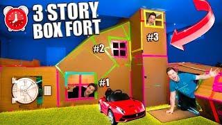 WORLDS BIGGEST 3 STORY BOX FORT! Secret Rooms, Gaming Room (24 Hour Challenge)