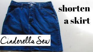 Shorten A Skirt - Cut A Skirt Shorter - Denim Jean Skirts DIY Tutorial