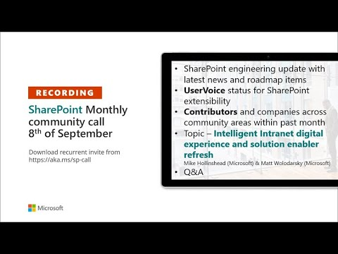 SharePoint Community – September 2020 monthly community call recording