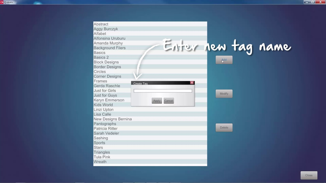 BERNINA Q-matic Video Tutorial: Manage Tags