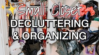 EXTREME CLOSET DECLUTTER | SMALL CLOSET DECLUTTER AND ORGANIZATION | SATISFYING BEFORE & AFTER