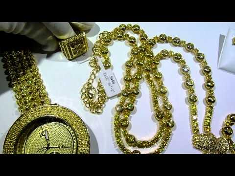 LEMONADE COMBO #4 Lab Made YELLOW Diamond Watch+Rosary+Ring+Earrings -Gucci Mane jewelry