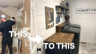 Laundry Room Makeover || DIY Faux Shiplap