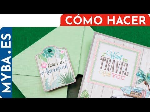 Tarjeta regalo con sobre y cierre de brad. Viajes, tema tropical. #tarjetería