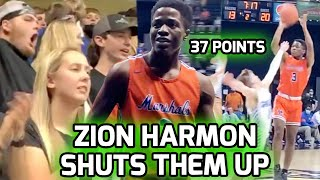 Zion Harmon Battles Injury & SHUTS UP OBNOXIOUS STUDENT SECTION! Drops 37 PTS In 1st Playoff Game 🔥