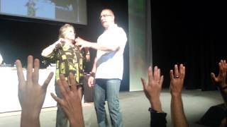 Jane Shannon on stage with Robert Irvine