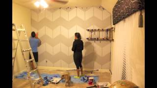 Chevron Pattern Bedroom Painting - Time Lapse