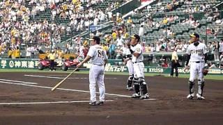 試合前の阪神とヤクルトの捕手2009年7月22日甲子園