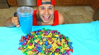 SOUREST GUMMY DRINK IN THE WORLD CHALLENGE!! Warheads, Toxic Waste Smoothie EXTREMELY INSANE