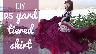 DIY 25 yard skirt - Easy! Gypsy/ATS/belly dancing tiered skirt