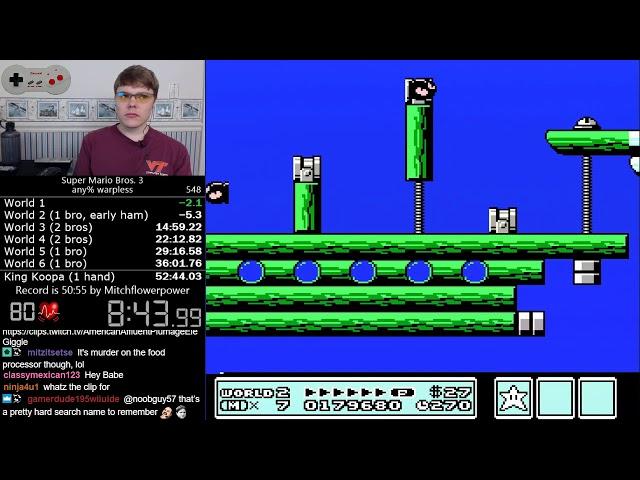 52:19) Super Mario Bros  3 Warpless speedrun - Vinepk