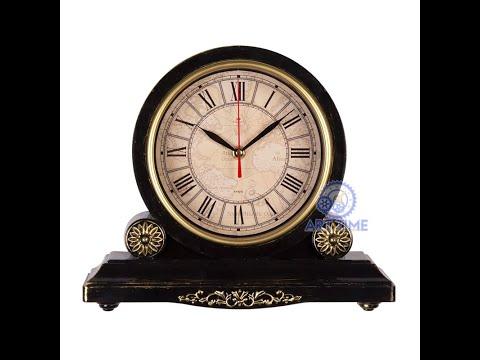 Видео обзор настольных часов Рубин 3026-005, корпус черный с золотом, Классика с римскими цифрами