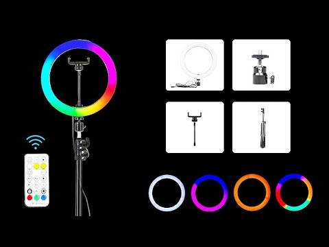 LED RGB кольцевой светильник для видео съёмки PYNSSEU / LED RGB video ring light PYNSSEU