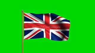 United kingdom National Flag | World Countries Flag Series | Green Screen | Royalty Free Footages