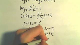 Solving Logarithmic Equations - Example 1