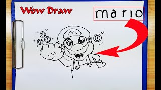 How To Draw Mario - How To Turn Words MARIO into a Cartoon - Drawing Mario - Super Mario