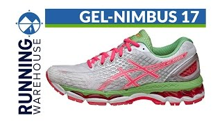 Asics GEL Nimbus 17 Women's Running Shoes White Orange video