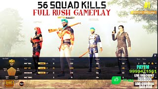 56 KILLS 3 Vs 4 WITH HIND SQUAD OP FULL RUSH GAMEPLAY #GAADI NIKALLLLL
