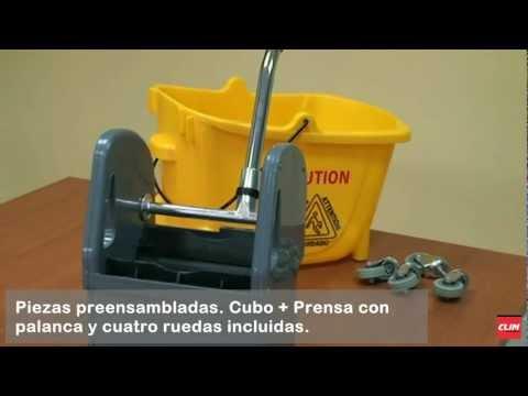 Cubo de limpieza profesional con ruedas y prensa