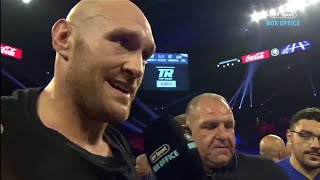 """We're Going To Hunt Down Deontay Wilder!"" Tyson Fury In-ring Interview After Tom Schwarz Win"