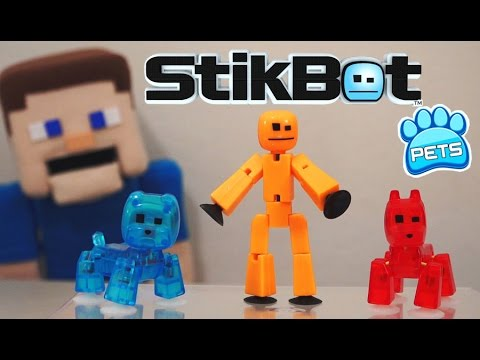 STIKBOT PETS Stik Dog, Bulldog, Cat, Monkey Series 1 FIRST LOOK! Toy Unboxing Zing Puppet Steve