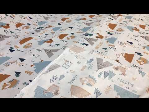 Baumwollstoff Tiere Indianer Eule Fuchs Eichhörnchen weiß bunt