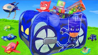 PJ Masks Unboxing: Catboy, Gekko & Owlette Play Tent, Rocketship HQ, Ride on & Toy Vehicles for Kids