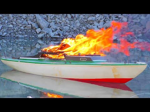 RC Ship on fire! RC Trucks and Fire Trucks in Action! Cool rescue action!