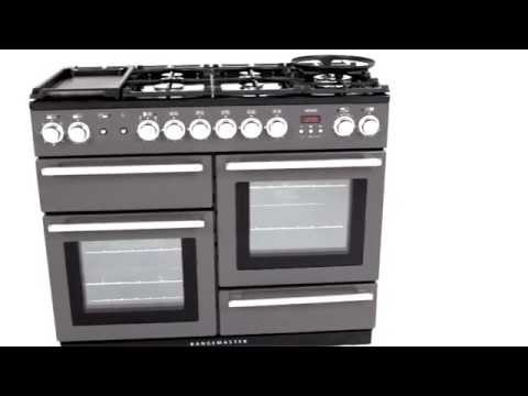 Rangemaster Range Cooker Dual Fuel NEX110DFFBL-C - Black / Chrome Video 1