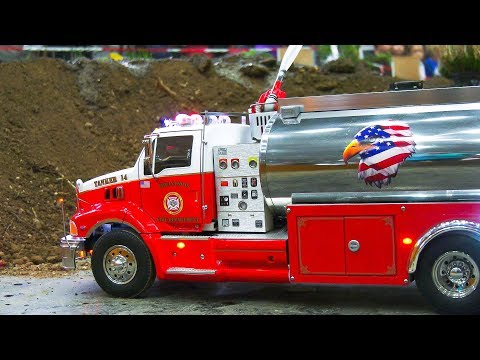 BIG RC MODEL FIRE EXTINGUISHING MISSION, RC FIRE TRUCKS AND RC CARS IN ACTION!!