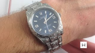 Gunsmith-Engraved! Rolex Oyster Perpetual 114200 Luxury Watch Review