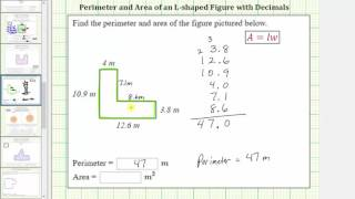 Find the Perimeter and Area of a L-Shaped Polygon Using Decimals