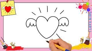 Dessin COEUR FACILE - Comment Dessiner Un Coeur Avec Des Ailes FACILEMENT
