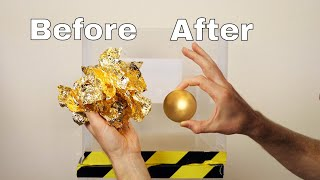 GOLD Mirror-Polished Japanese Foil Ball Challenge in a Vacuum Chamber! - Video Youtube