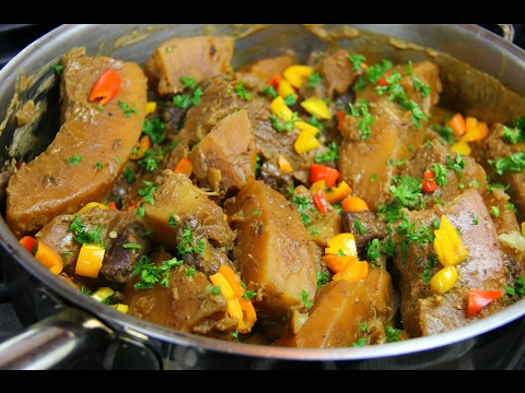 Breadfruit In Stewed Pork Simmered With Coconut Milk #TastyTuesday's | CaribbeanPot.com